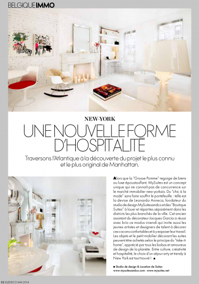 MySuitesCo in Elle Decor Magazine May 2014