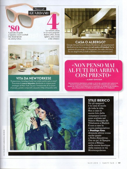 MySuites&Co in Vanity Fair Italy, January 2013