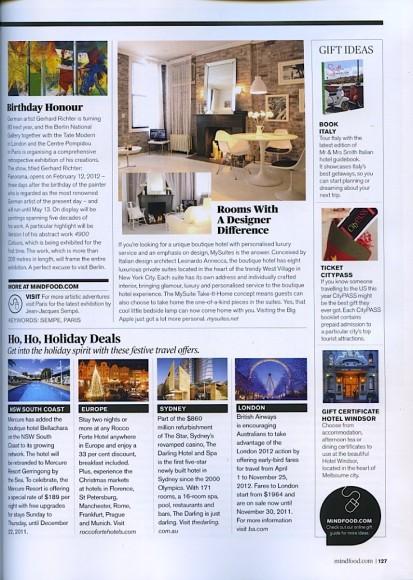 MySuites&Co in MiNDFOOD Magazine, December 2011