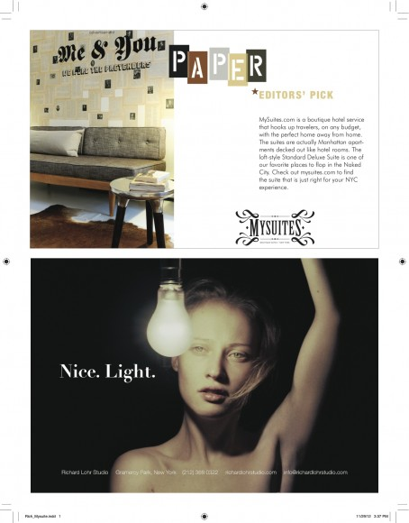 MySuites&Co featured in Paper Magazine, winter 2012-2013
